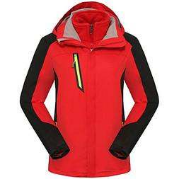 LANBAOSI Women's 3 in 1 Systems Water Resistant Ski Jacket w
