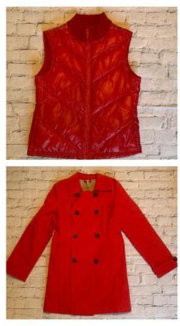 2pc Lot RED Women's Rain Trench Coat Jacket Puffer Fleece
