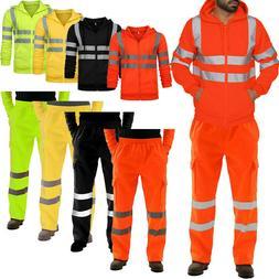 Men Hi Viz Visibility Security Casual Workwear Hoodie Jacket
