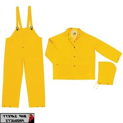 3 Piece Safety Rain Suit Yellow Rain Jacket w Detachable Hoo