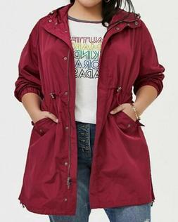 Torrid 3x 22 24 Nwt Red Maroon Nylon Rain Jacket Coat Long L