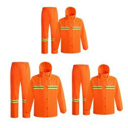 3x Hi-Vis Safety Rain Suit Reflective Rain Jacket with Hood&