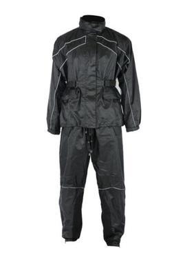 3XL Mens MC Motorcycle Rain Suit, Black Waterproof 2-Piece J