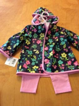 $54 Little Me floral rain jacket pink leggings white flower