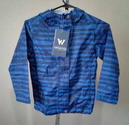 $55 White Sierra Rain Jacket boy Youth XS blue, pockets, hoo
