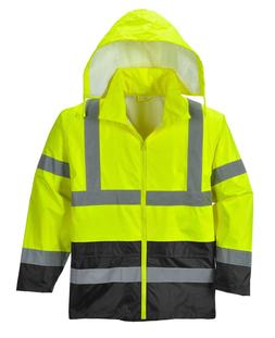 Hi Vis Rain Jacket Reflective Tape Hood Waterproof ANSI, Ref