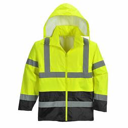 Portwest UH443 Hi-Vis Rain Jacket Stow Away Hood, ANSI Class