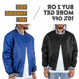 MENS CASUAL VARSITY JACKET BOMBER JACKET HIP PLAIN LETTERMAN