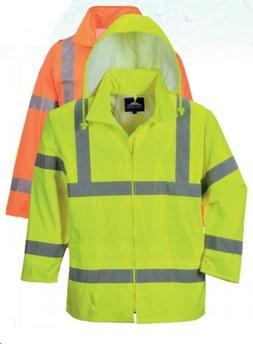 Safety Rain Jacket Reflective Green Hi-Vis Raincoat Rainjack