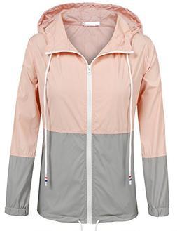 SoTeer Women's Zip Up Outdoor Raincoat Hooded Softshell Wate