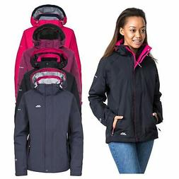 Trespass Florissant Womens Waterproof Jacket Black Navy Rain