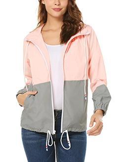ZHENWEI Ladies Lightweight Zip up Rain Hoodie Jacket for Wom