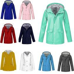 Winter Women Solid Rain Jacket Outdoor Plus Waterproof Hoode