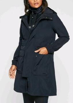 ATHLETA Ballard Waterproof Rain Parka Jacket Navy Captain $2