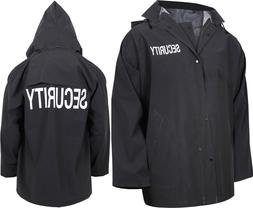 Black Waterproof Security Rain Jacket Double Sided Print wit