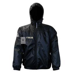 Black Security Guard Officer Windbreaker Zipper Light Rain J