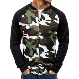 iYYVV Mens Casual Long Sleeve Pocket Slim Fit Camouflage Ful