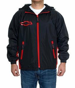 Chevrolet Hooded Rain Jacket Chevy WindBreaker Zip Black Red