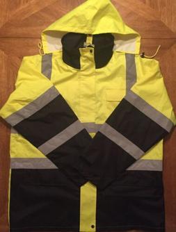 CIS Class 3 Level 2 Safety Yellow/Black Reflective Rain Jack