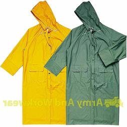 Delta Plus Mens Waterproof LONG Full Length Rain Jacket Hood