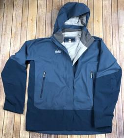 REI Elements E1 Men's XL Hooded Rain Jacket Blue Waterproof
