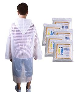 Emergency Rain Ponchos, JoyFamily 5 Count Disposable Raincoa