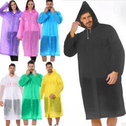 Unisex Waterproof Jacket Clear PE Raincoat Rain Coat Hooded Poncho Rainwear