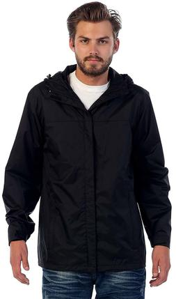 Gioberti Men's Waterproof Rain Jacket Black-Small