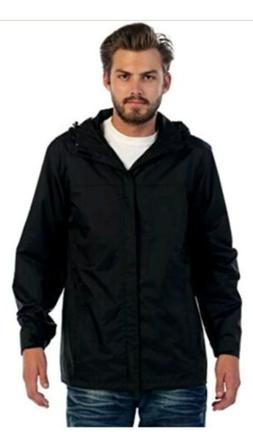 Gioberti Men's Zip-Up Hooded Rain Jacket Black 2XL NEW