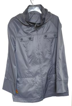 Calvin Klein Gray Hip Length Packable Trench Rain Coat w/ Ho