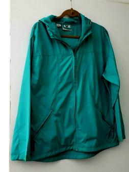 White Sierra Green Rain Jacket - Pack-able Hiking, Travel -