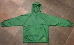 John Deere Green Rain Jacket Windbreaker Light Weight Pullov