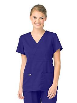 Grey's Anatomy 4153 Women's Mock Wrap Top Purple Rain XL