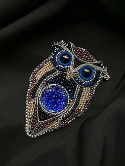 Handmade Brooch Women Accessories Jacket Coat Owl Brooch wit