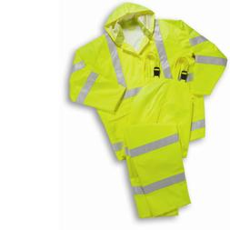 HI VIS ANSI Class 3 Rain Suit Including Jacket, Hood, and Pa