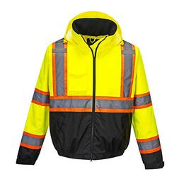 Portwest Hi-Vis 2in1 Bomber Jacket Viz Insulated Safety Visa