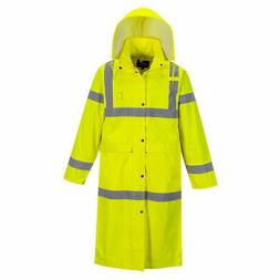 "Portwest UH445 His Vis Safety Raincoat with Long 48"" Waterpr"