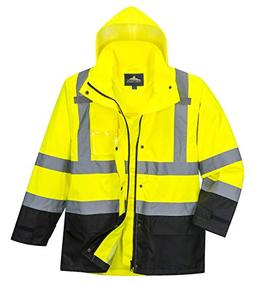 Portwest Hi-Vis Contrast Rain Jacket Viz Insulated Safety Vi