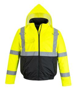 Hi Vis Jacket Rain Waterproof Bomber Reflective Coat Padded