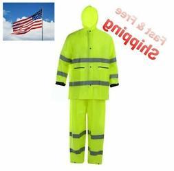 Hi-Vis Lime Class 2 Safety Rain Suit Reflective Rain Jacket