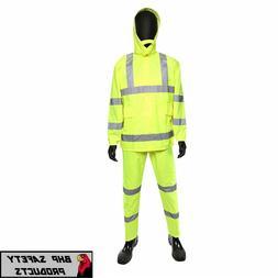 Hi-Vis Lime Safety Rain Suit Reflective Rain Jacket w Hood a
