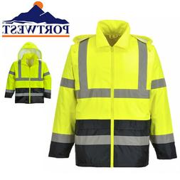 Hi-Vis Rain Jacket ANSI Class 3 High Visibility Yellow/Black