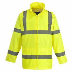 Hi-Vis Rain Jacket Stow Away Hood, ANSI Class 3, Yellow Port