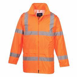 Hi-Vis Rain Jacket Stow Away Hood, ANSI Class 3, Orange Port