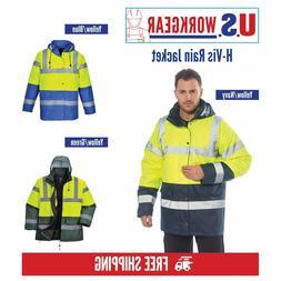 Hi Vis Rain Traffic Jacket, High Visibility Work Safety ANSI