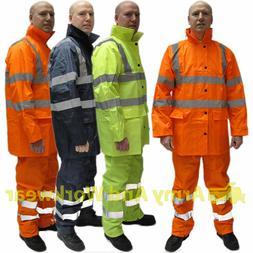 Hi Viz Waterproof Rainsuit Mens Rain Suit Set High Vis Visib
