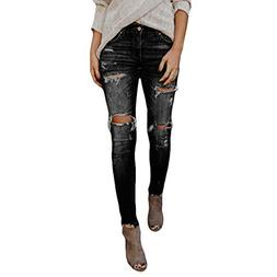 TOPUNDER Hight Waisted Ripped Jeans Women Skinny Hole Denim