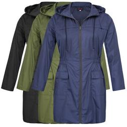 HN Women Hooded Rain Coats Plus Size Lightweight Zip Up Outw