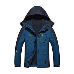 Wantdo Men's Hooded Waterproof Fleece Ski Jacket Rain Jacket