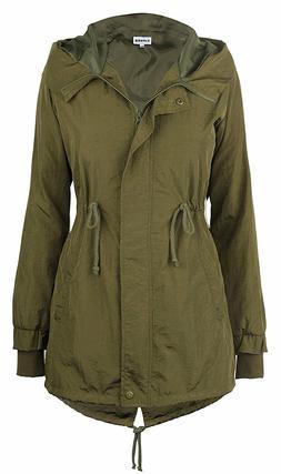iLoveSIA Women's Military Jacket Rain Trench with Hood